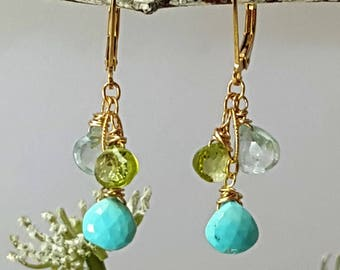 Tiffany Blue Sleeping Beauty Turquoise  Earrings Peridot Earrings Gold Dangle Earrings Leverback