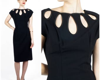 Vintage 60's Black Knee Length Wiggle Dress with Cut Out Loops Neckline by Lilli Diamond | Small/Medium
