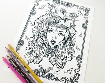 Vampire Girl Bat Girl 3 Download Coloring Page Pocket Full of Posiez