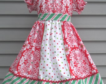Ready to Ship Custom Boutique Red Green Damask Christmas Girl Dress Will Fit Size 7 or 8