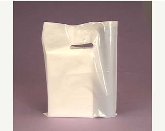 Summer Sale 50 Pack White Handled 9 X 12 inch Plastic Merchandise Bags