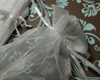 STOREWIDE SALE 12 Pack White Sheer Larger Size Organza Drawstring Bags 5 X 7 Inch Size