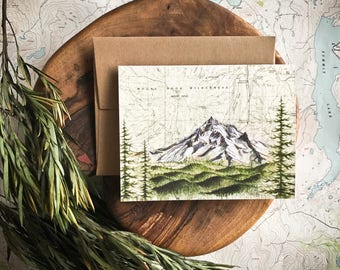 Mt Hood Wilderness Greeting Card, Mount Hood painting Mountain illustration, Oregon mountain, print art topo map art, blank card