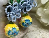 Lilygrace Pastel Blue and Yellow Beaded Flower Earrings with Handpainted Beads