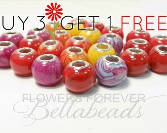 Cremation Jewelry/Memorial Jewelry/Made with Funeral Flowers/Save up to 50.00/Remembrance/Large Hole Charm, Round BOGO