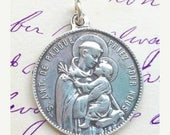 ON SALE St Anthony Medal / Virgin Mary Medal - Antique Reproduction