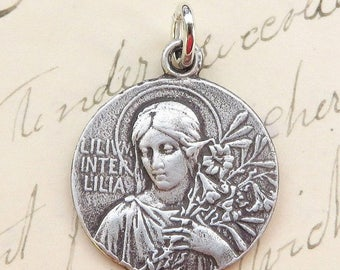 ON SALE Lily Among Lilies Virgin Mary Medal - Antique Reproduction