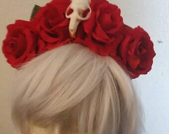 On SALE Floral crown, Flower crown, Red rose, Rose crown, Skull, Skull crown, Flower, Red rose, Halloween
