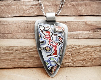 Fordite necklace, Detroit Agate necklace, fordite jewelry, girlfriend gift for her, sterling silver statement necklace, Christmas gift