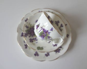 Hammersley Spring Violets Trios Vintage Cup Saucer Plate Bone China Made in England -  EnglishPreserves
