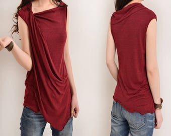 Free Shipping SALE WINE size M - My Zen 2 - draping tank top (Y3112)
