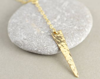 Hammered Triangle Necklace, Gold Modern Necklace, Y Necklace