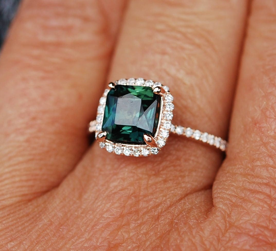 Peacock Sapphire Engagement Ring 3 6ct Square Cushion Cut