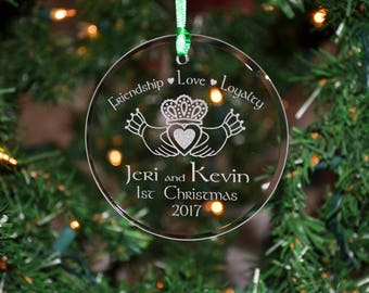 Personalized Engraved Couples Irish Celtic Claddagh Glass Christmas Ornament, Holiday Ornament, 1st Christmas Gift, Anniversary Gift - ORN10