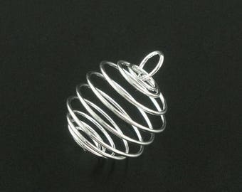 Bead Cage Pendant Charm Silver Plated Spiral with Loop 25x20mm 10 pcs