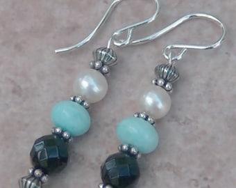 Genuine Larimar, FW Pearl, Onyx, Sterling Silver Earrings, Cavalier Creations