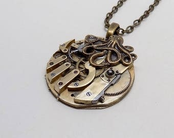 Steampunk pendant. Steampunk  necklace with octopus.