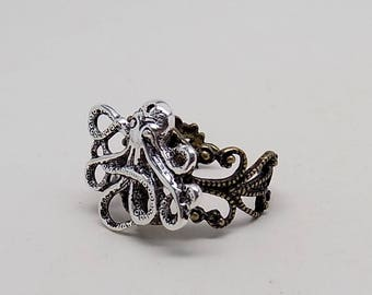 Steampunk jewelry octopus ring.