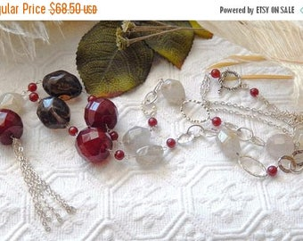 ChristmasInJulySALE..... Sale.....One of a Kind Super Long Sterling Silver, Smoky Quartz and Carnelian Necklace