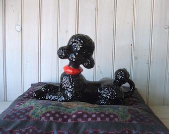 Vintage Black French Poodle Ceramic Figurine