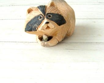 Vintage Artesania Rinconada Raccoon Pottery Figurine