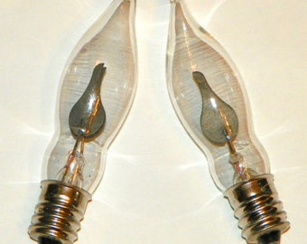 2 Flicker Bulbs, Clear Glass Flame Shaped Glass Bulb with Orange Flame