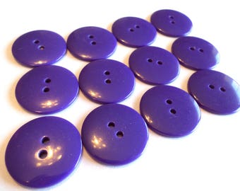 12 Purple Buttons 7/8 Inch for Sewing, Crafts, Scrapbooking from Muscatine Iowa