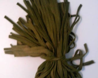 85 Hand Dyed Wool Rug Hooking Strips Olive Green