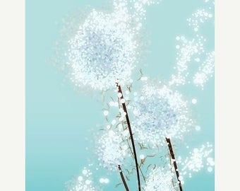50% Off Summer Sale - Perennial Moment (aqua) - 12x18 print - dandelion art - blue flower - modern wall art - multiple sizes