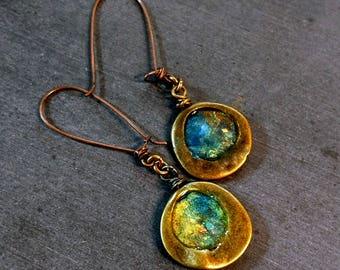 Romaneque Dangle Earrings, Blue Green