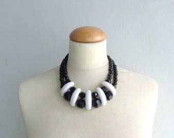White black bib necklace, colourful chunky necklace, modern tribal necklace, statement black white necklace
