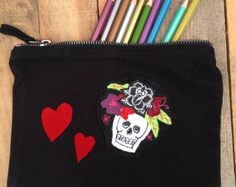 Sugar Skull Pencil Case or Make-up Bag. Hand Embroidery. Día de Muertos Gift