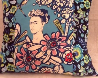 Blue Garden Frida Cactus Flower 24 inch Artistic Statement Pillow Cover