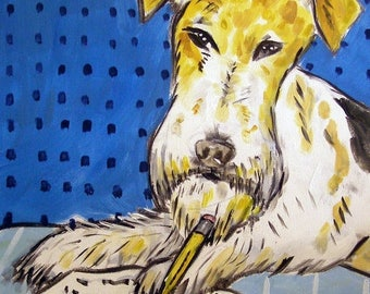 20 % off storewide Fox Terrier Reading a Book Dog Art Print  JSCHMETZ modern abstract folk pop art gift