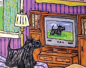 20 % off storewide Scottish Terrier Watching Television Dog Art Print  JSCHMETZ modern abstract folk pop art gift