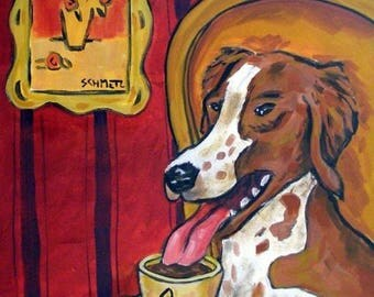 20% off storewide Brittany , brittany dog art, brittany print on tile, ceramic coaster, gift, coffee art, coffee print on tile, coffee gift