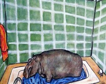20% off Hippopotamus Taking a Bath Animal Art Tile Coaster