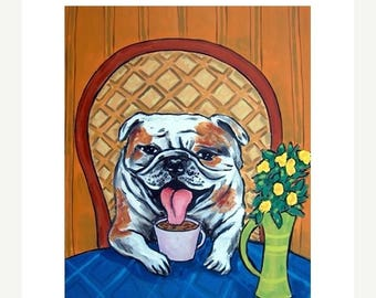 20% off 11x14 bulldog print,bulldog art, dog, dog art, voffee, coffee art, gift, modern folk art, print from painting