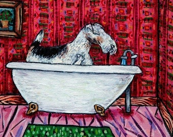 20% off fox wire terrier dog bathroom animal art tile coaster  JSCHMETZ modern abstract folk pop art AMERICAN ART gift