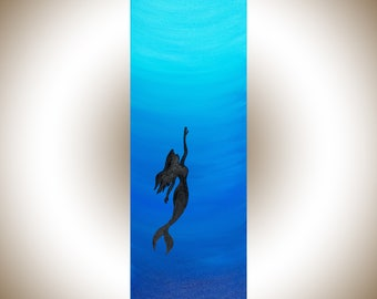 "24""Mermaid art mermaid painting blue green canvas art narrow art wall decor wall art painting on canvas  by qiqigallery"