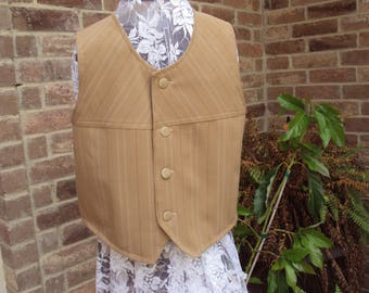 tan Victorian vest, Newsies vest, colonial vest, childrens size 12 OOAK