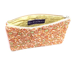 75% off Clearance Cosmetic Case, Cord Case, Bridesmaid Gifts, All-Purpose Zipper Case, Orange and Green Circles