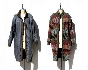 Vintage Reversible Knit & Woven Oversized Long Cardigan Sweater Coat