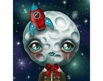 NEW Moon Boy 8 x 10 Print, Creepy Cute Digital Illustration by Sandra Vargas, Nursery Art, Pop Surrealism