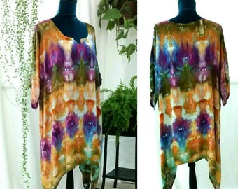 Purple Gold Moss and Periwinkle Ice Dyed Rayon Tunic Blouse Lagenlook style size 2XL