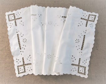 Vintage Table Runner Antique Table Linens Hand Embroidered Bureau Scarf White Embroidery Vintage Linens 2