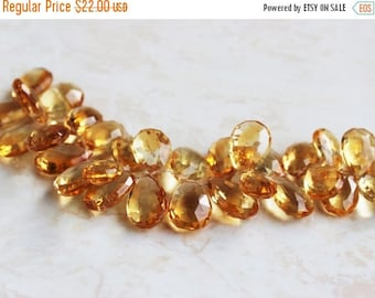 Deep Discount Sale Matched Citrine Gemstone Briolette Faceted Pear 18mm 2 beads