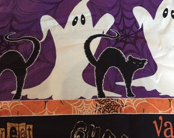 One Yard of Ghost Stripes Fabric -Halloween   fall  Autumn