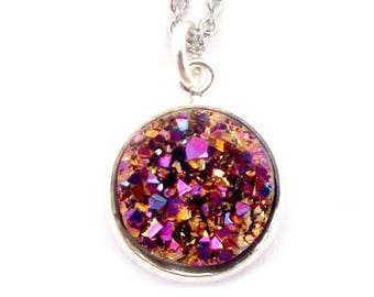 """Pink Purple Nugget Faux Druzy Necklace 18"""" Stainless Steel Chain"""