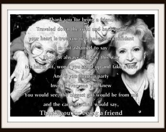 The Golden Girls --Thank you for being a friend 8.5 x 11